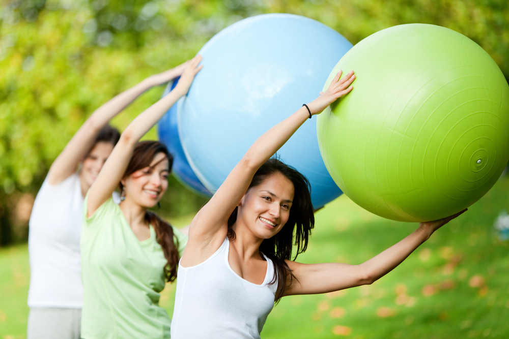 Outdoor Pilates with ball